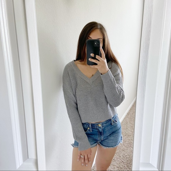 Wild Fable Gray Crop Sweater S